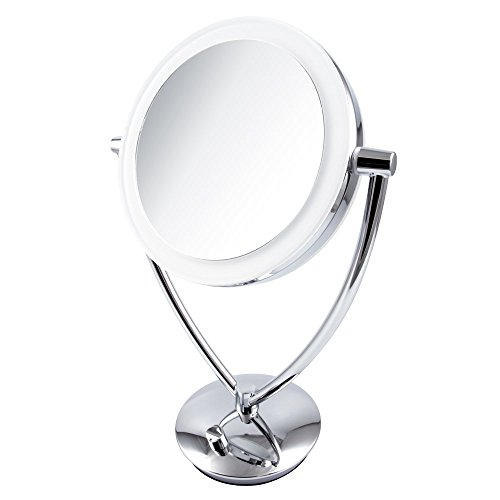 "Ovente 7.5"" Lighted Tabletop Makeup Mirror, Battery or USB Adapter Operated, 1x10x Magnification, Dimmable Cool-Tone LED Light, Polished Chrome (MLT75CH)"