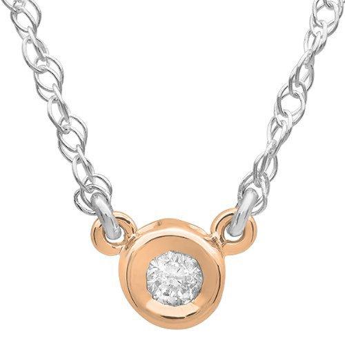 0.05 Carat (ctw) 14k Gold Round Diamond Ladies Bezel Set Solitaire Pendant 1/20 CT