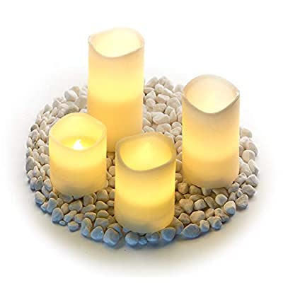 Hayley Cherie - Textured Real Wax Flameless Candles with Timer (Set of 4) - LED Candles 3, 4, 5, 6 inches Tall - Flickering Amber Flame - Battery Operated Pillar Candles – Large Unscented