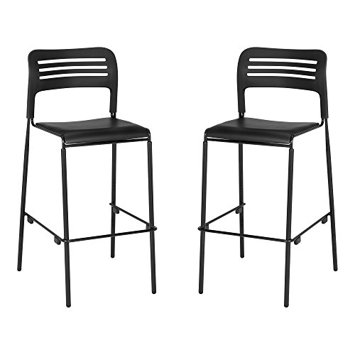 - Learniture LNT-EYG1290-SO Wave Back Vinyl Seat Café Height Stack Chair, Black/Silver (Pack of 2)