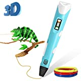 ThreeMay 3D Pen, 3D Printing Pen with LED Display for Kids and Adults 3D Doodler Drawing Printing Printer Pen with PLA Filament Refills-Blue