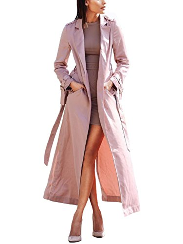 S Curve Women's Long Sleeve Belted Satin Maxi Duster Coat Pink X-Small (Satin Trench Jacket)