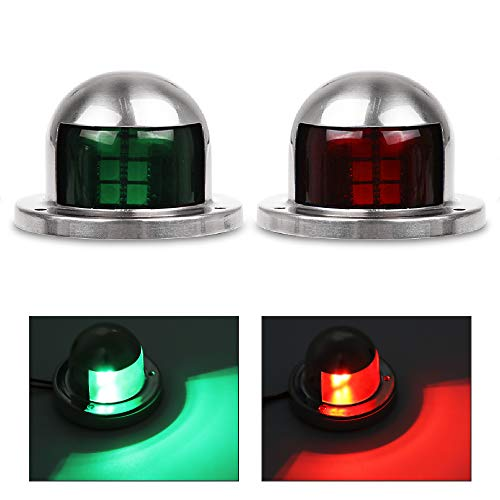 Acelane 1 Pair LED Navigation Lights Red and Green Lights Marine Sailing Signal Lights Stainless Steel 12V Bow Side Port Starboard for Boating Fishing Yacht, Pontoons, Chandlery Boat, Skeeter