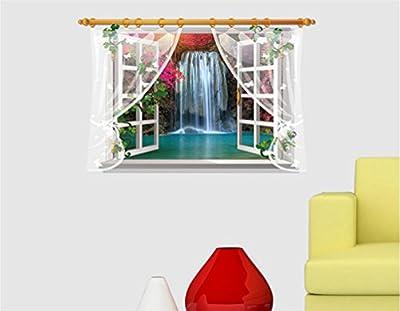DOPIN 3D Fake Windows Sunflower Wall Stickers Flower Landscape Sea Island Faux Windows Wall Decal Home Sticker Paper Art Picture DIY Murals 60×90CM/23.62''×35.43'' (5#Waterfall)