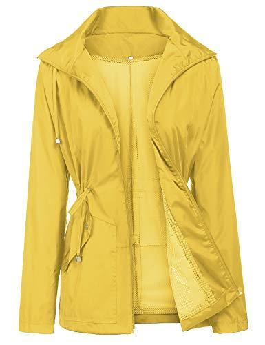 Doreyi Camping Jacket Women Women Rain Jacket,Windbreaker Travel Hiking Raining Wear Soft Shell Wind Coat Yellow