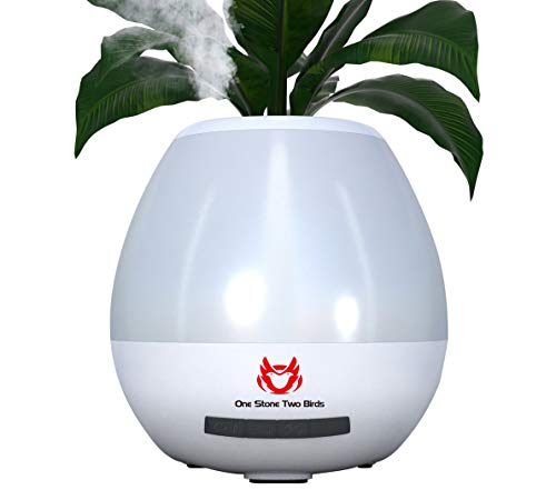 Smart Flower Pots,4.6 Inch Indoor Plastic Planter,200ml Mini Cool Mist Humidifier with Wireless Bluetooth Speaker LED…