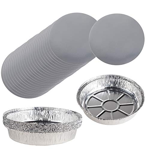 (Aluminum Foil Pie Pans - 100-Piece Round Disposable Tin Pans with Flat Board Lids, For Baking, Roasting, Broiling Cooking, For Temperatures Up to 500-F, 9.25 x 2 Inches)