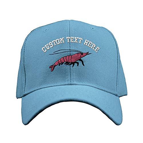 Custom Text Embroidered Shrimp Unisex Adult Hook & Loop Acrylic Adjustable Structured Baseball Hat Cap - Light Blue, One Size