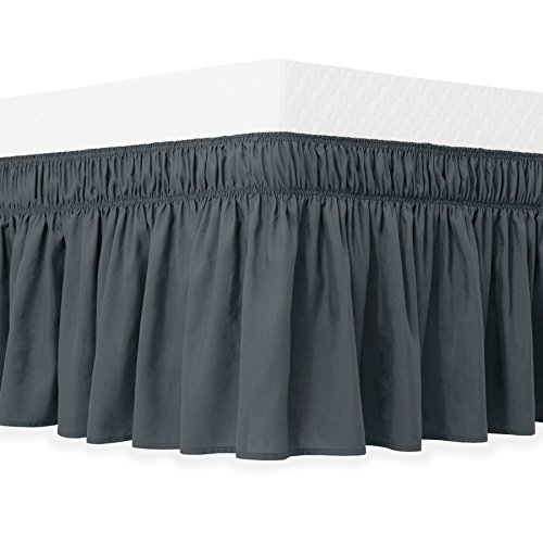 (Guken Wrap Around Bed Skirt, Elastic Soft Bed Ruffle, Easy On and Easy Off, Wrinkle and Fade Resistant Solid Color Hotel Quality Fabric with 15 Inch Drop(Gray,Queen))