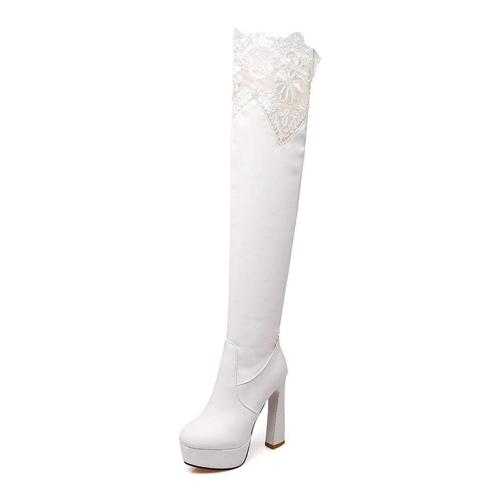 White Women Toe Super High Heels Platform Simple Style Sexy Boots Lady Over-The-Knee Boots Zip Lace Patchwork Pu Round