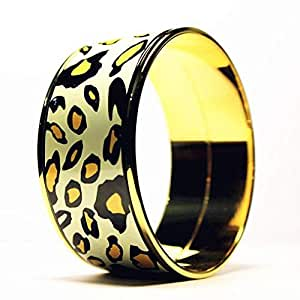 Zeitlot Handmade Jewelry Enamel Painted 18k Gold Plated Leopard Bangle
