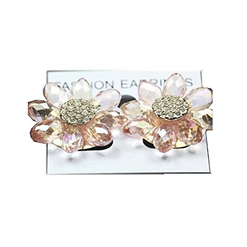 Garrelett 2 Pairs Korea Elegant Flower Petal Clear Crystal Painted Stud Earrings for Women Girls Party Ball Prom Wedding Pink