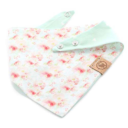 Dog Bandana Spring Floral Pink Blush, Choice of Bandana Over Collar, Tie on or Snap, Size XS-XL
