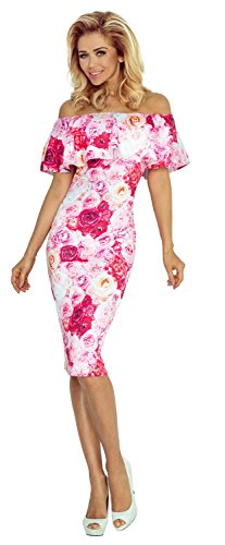 Glamour Empire. Para Mujer Vestido Elástico a Capas Volante Escote Bardot. 044 Rosado Flores