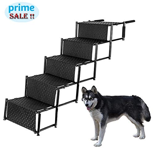 Pet Dog Car Step Stairs, Accordion Folding Pet Ramp for Indoor Outdoor Use, Lightweight Portable Auto Large Dog Ladder, Great for Cars, Trucks and SUVs Cargo, Sailboat, Couch and High ()