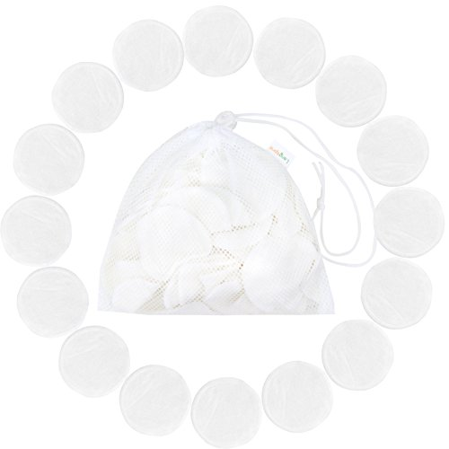 Langsprit Reusable Makeup Remover Pads 16 Packs,Organic Bamboo Face Pads,Facial Rounds,Face pads Cleansing Wipe Cloth with free Laundry Bag(Bamboo) by Langsprit (Image #1)
