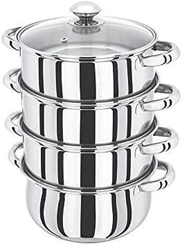 3 étages en acier inoxydable 22 cm cuiseur vapeur Multi Légumes Cuisinière Pot Pan Cookware Couvercle en verre
