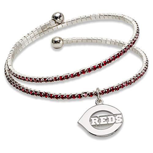 (MLB Cincinnati Reds CINCINNATI REDS AMPED LOGO CRYSTAL BRACELET Size One Size)