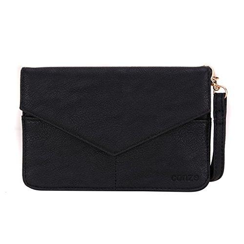 Conze Mujer embrague cartera todo bolsa con correas de hombro para teléfono inteligente para Samsung Galaxy Xcover 3/Win/Alpha/Beam 2 negro negro negro