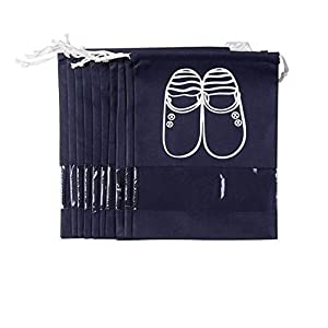 Pack of 10 Portable Dust-proof Travel Shoe Organizer Bags for Boots, High Heel -- Drawstring, Transparent Window, Space Saving Storage Bags, Large Size, Navy Blue