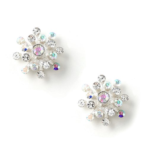 Silver Crystal and Aurora Borealis Rhinestone Flower Earrings