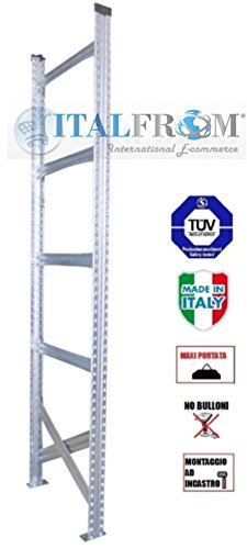 Portata Scaffali Industriali.Spalla Spalle H250x60 Cm Scaffali Scaffalature Magazzino Scaffalatura Metallica Industriali Zincati Portata 1500 Kg Made In Italy