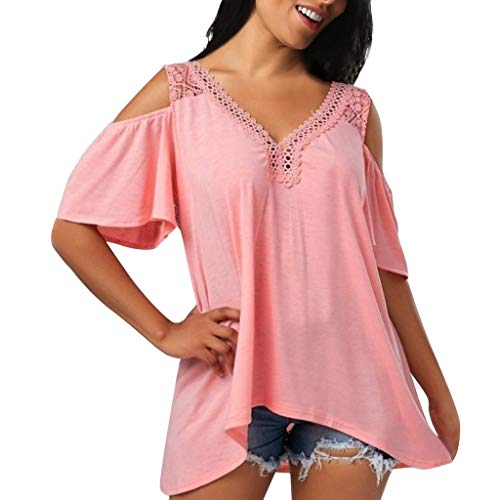 Women's V-Neck Cold Shoulder Lace Blouse,Fashion Plus Size Casual Solid 3/4 Bell Sleeve Loose Top Shirt Pink ()