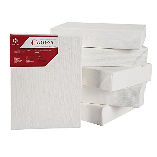 """CONDA Artist Stretched Canvas 5"""" x 7"""" 6 Pack 1-3/4"""" Profile Primed Gesso Professional Quality Thick Frame Canvas"""