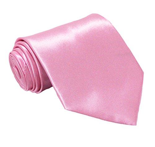 Soophen NEW Mens Necktie SOLID Satin Neck Tie Pink