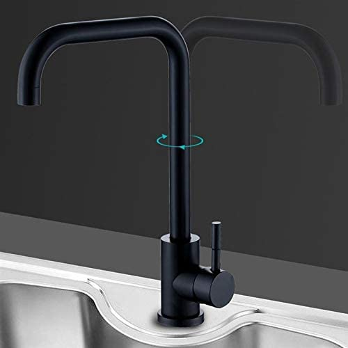 キッチンバスルームのレストランのための浴室の蛇口耐久性のあるステンレススチール焼付ワニスブラック回転可能な水道水 (Color : Black)
