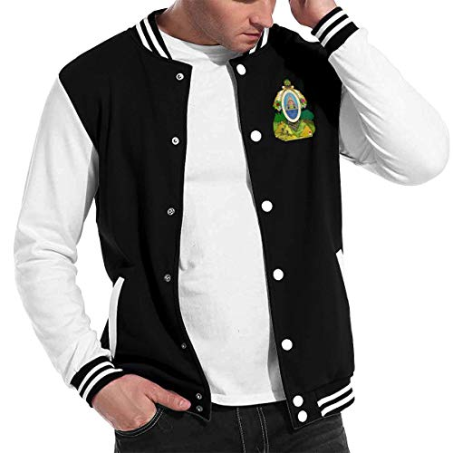 X-JUSEN Mens Coat of Arms of Honduras National Emblem Baseball Uniform Jacket, Bomber Jacket, Sport Coat, Lightweight Sweater (Honduras Jacket)