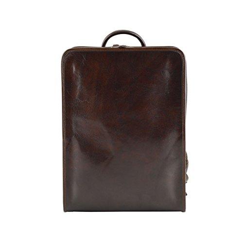 Echter Leder Rucksack Mit Gepolsterten Riemen Farbe Dunkelbraun - Italienische Lederwaren - Rucksack