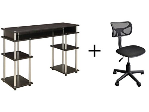 Convenience Concepts No Tools Student Desk in Espresso Finish with Adjustable Seat Mesh Task Chair Bundle Set Espresso Mesh Seat