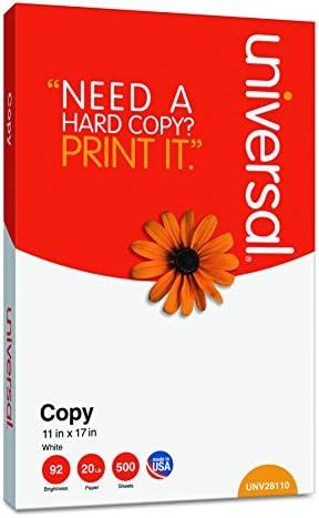 Universal 28110 Copy Paper, 92 Brightness, 20lb, 11 x 17, White (Case of 2500 Sheets)