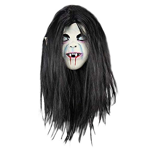 Weimay Halloween Mask Scary Witch Mask Headgear Long Hair Curse Resentment Ghost Ghost Face Mask Show Dress Up Props