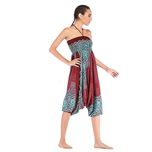Harem Pants Women's Hippie Bohemian Yoga Pants One Size Aladdin Harem Hippie Pants Jumpsuit Smocked Waist 2 in 1 (Free, Wine) by BingYELH Yoga (Image #4)