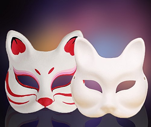 Unpainted White Plain Arts and Crafts Cat/Fox Masquerade Version Face Mask (White Fox) - Blank Masquerade Mask