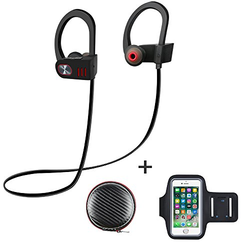 Price comparison product image ALOFOX V5 Bluetooth Wireless Headphones with Armband, Sport 4.1 Stereo Earbuds Runner Headset, IPX5 Sweatproof Earphones Secure Fit with Mic works with iPhone, iPad, Samsung, and More (Black/Grey)