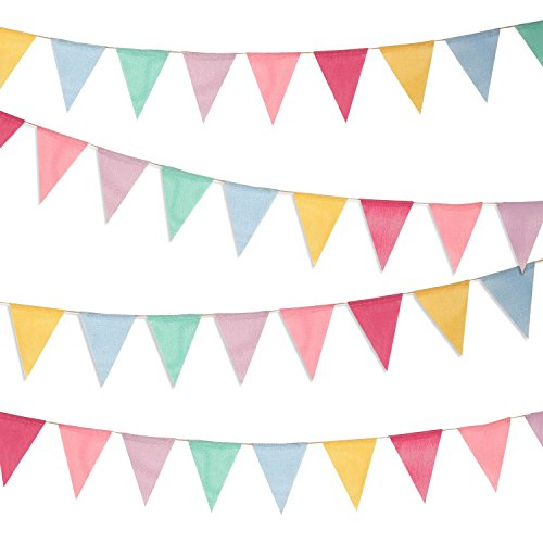 Boao 48 Pieces Colorful Pennant Banner Flags Imitated Burlap Bunting Banner for Party Decoration by Boao