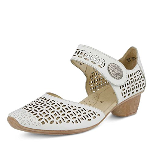 Spring Step Mujeres Macaw Closed Toe Sandal Cuero Blanco