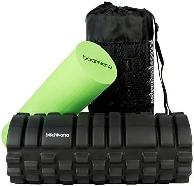 33 x 14 cm dise/ño de rejilla para accionar la terapia de puntos para el dolor de espalda y los m/úsculos de las piernas Libro de ejercicios incluido Rodillo de espuma para masaje muscular