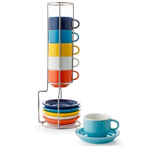 Saucers Oven Cups Safe (Sweese 4311 Porcelain Stackable Espresso Cups with Saucers and Metal Stand - 2.5 Ounce for Specialty Coffee Drinks, Latte, Cafe Mocha and Tea - Set of 6, Hot Assorted Colors)