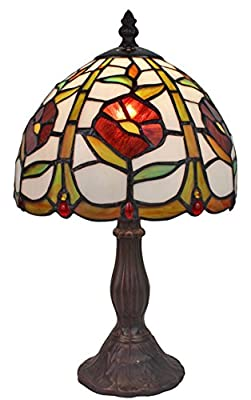 Amora Lighting Tiffany Style AM039TL08 15-inch Floral Mini Table Lamp
