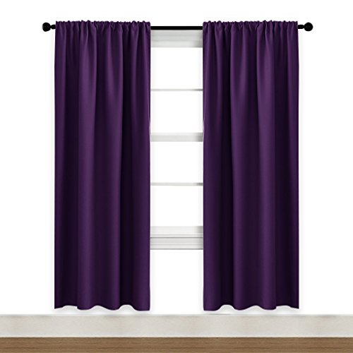 Curtains Eggplant (NICETOWN Blackout Curtains 72 Inches Long - Easy Care Thermal Insulated Rod Pocket Window Covering for Patio Door (Royal Purple, One Pair, 42