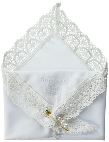 Darice VL3066 Mother of The Bride Embossed Handkerchief Hankies with Pearl (Lace Edged Handkerchief)