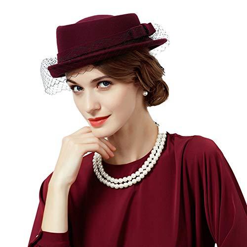 F FADVES Wool Porkpie Hat Felt Church Derby Wedding Party Veil Hat