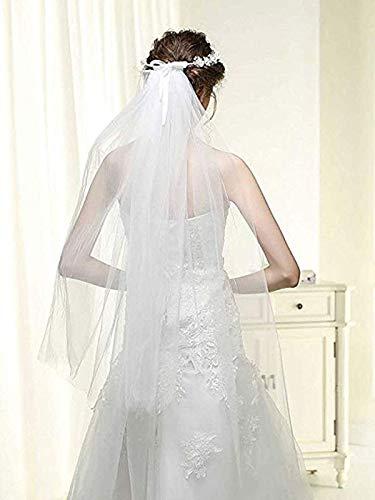 (Brishow Women's Long Bridal Veil Double Tier Festival Wedding Crystal Flower Headband Veils Hair Accessories for Bride (White))