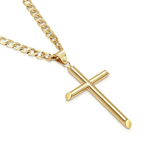 Gold Italian Cross - Solid 14K Gold Cross Pendant Italian Made Cuban Chain Necklace - 24
