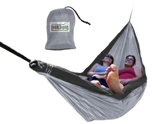 Trek Charcoal (Trek Light Gear Double Hammock - The Original Brand of Best-Selling Lightweight Nylon Hammocks - Extra Wide for the Most Comfort - Use for All Camping, Hiking and Outdoor Adventures {Silver/Charcoal})