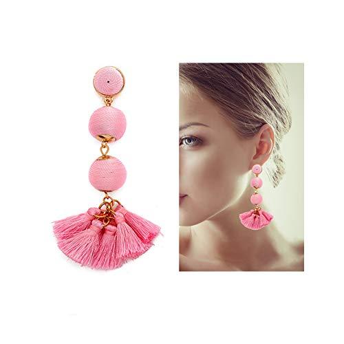 Dangling Handmade Earrings (Comhome Wrapped Triple Balls Lantern Tassel Bohemian Statement with Handmade Silky Tassel Fringe Lightweight Drop Stud Fashion Earring for Women Dangling,Ladies' Gift,Pink)